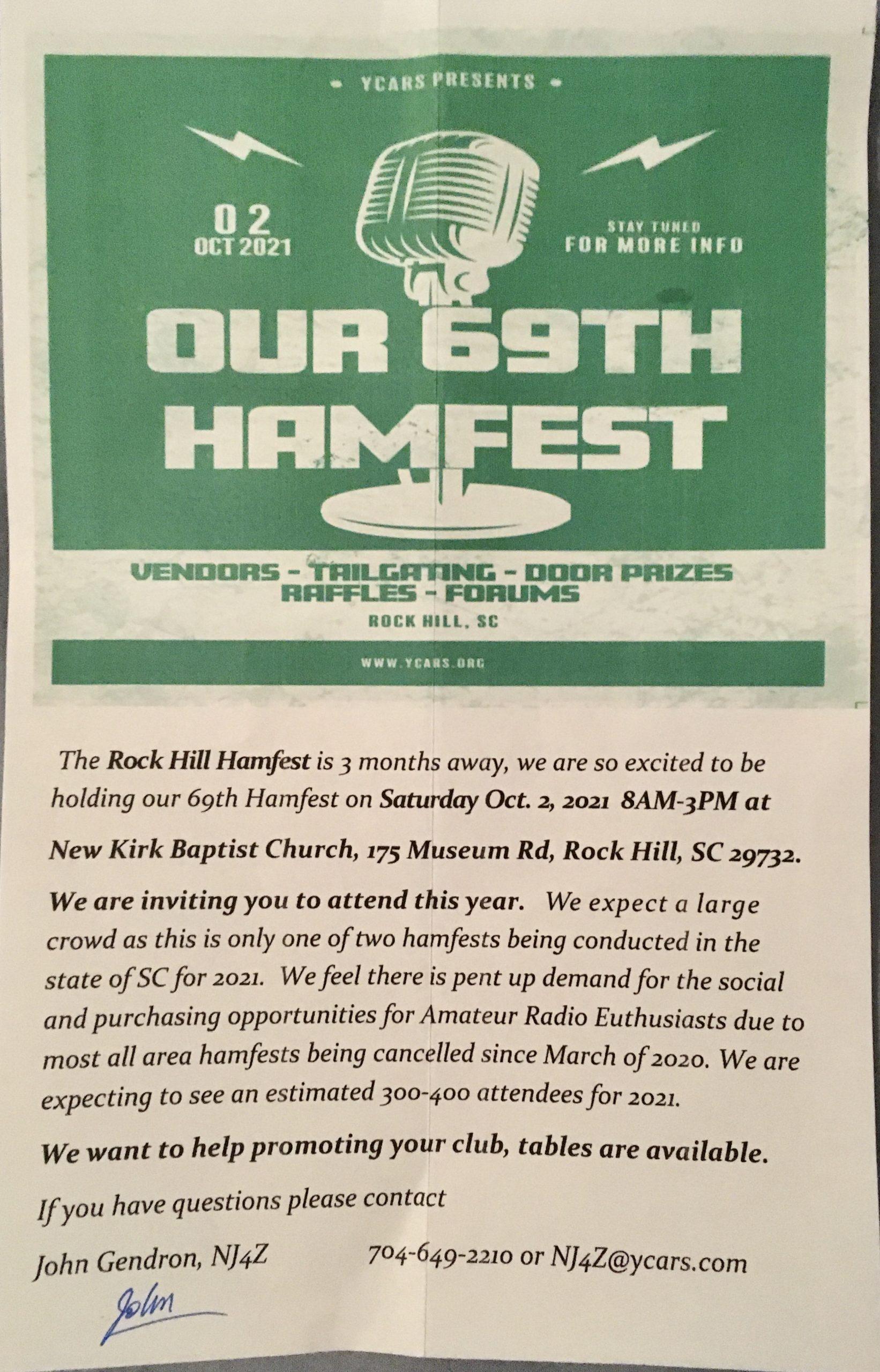 Rock Hill 69th Hamfest @ New Kirk Baptist Church